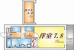 ワコーレヴィアーノ須磨寺町 2階1Kの間取り