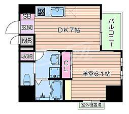 おおさか東線 南吹田駅 徒歩10分の賃貸マンション 4階1DKの間取り