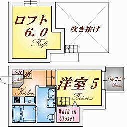 兵庫県神戸市長田区海運町2丁目の賃貸アパートの間取り