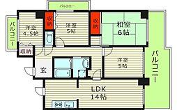 松屋レジデンス関目 13階4LDKの間取り