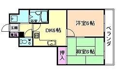 リオマ梅香[4階]の間取り