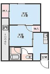 コーポ田島[302号室]の間取り