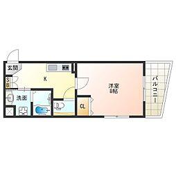 JR桜島線(ゆめ咲線) 安治川口駅 徒歩14分の賃貸マンション 1階1Kの間取り