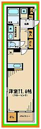 JR南武線 府中本町駅 徒歩12分の賃貸マンション 3階ワンルームの間取り