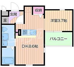 阪急京都本線 正雀駅 徒歩5分の賃貸マンション 4階ワンルームの間取り