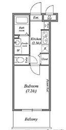 都営浅草線 泉岳寺駅 徒歩6分の賃貸マンション 2階1Kの間取り