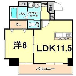 阪急神戸本線 夙川駅 徒歩12分の賃貸マンション 4階1LDKの間取り