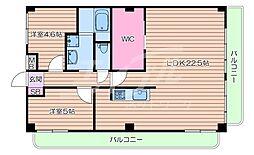 大阪モノレール本線 宇野辺駅 徒歩12分の賃貸マンション 2階2LDKの間取り