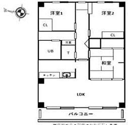東武野田線 七里駅 徒歩7分の賃貸マンション 2階3LDKの間取り
