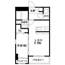 中間島新築マンション[305号室]の間取り