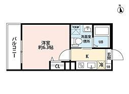 T.A矢田東 3階1Kの間取り