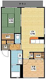 シャーメゾンK&M A棟[1階]の間取り