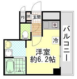 近鉄大阪線 近鉄八尾駅 徒歩5分の賃貸マンション 7階ワンルームの間取り