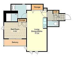 (仮称)富士見台4丁目HBS計画 4階1LDKの間取り