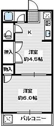 南海高野線 滝谷駅 徒歩29分の賃貸アパート 2階2DKの間取り