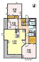 JR武蔵野線 吉川駅 徒歩4分の賃貸アパート 2階3LDKの間取り