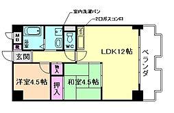 大阪府豊中市箕輪3丁目の賃貸マンションの間取り