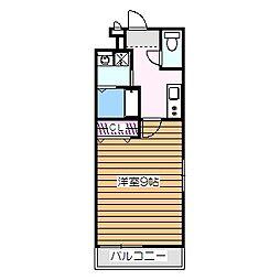 南海高野線 白鷺駅 徒歩5分の賃貸アパート 2階1Kの間取り
