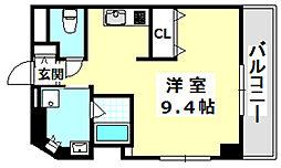 阪急京都本線 南茨木駅 徒歩1分の賃貸マンション 5階ワンルームの間取り