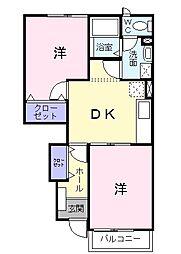 埼玉県三郷市早稲田8の賃貸アパートの間取り