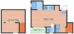 Osaka Metro谷町線 千林大宮駅 徒歩10分の賃貸マンション 3階ワンルームの間取り