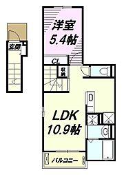 JR五日市線 秋川駅 徒歩3分の賃貸アパート 2階1LDKの間取り