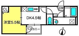 THE HOUSE 与野本町 Blanc 3階1DKの間取り
