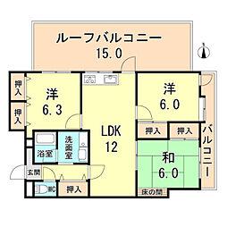 阪神本線 芦屋駅 徒歩5分の賃貸マンション 5階3LDKの間取り