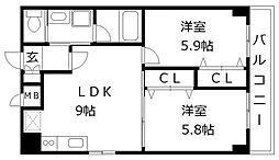 アトラスアルファーノ箱崎[6階]の間取り