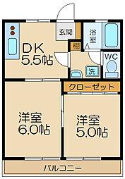 西武多摩川線 多磨駅 徒歩5分の賃貸アパート 2階2DKの間取り