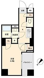 JR山手線 目黒駅 徒歩10分の賃貸マンション 5階1Kの間取り
