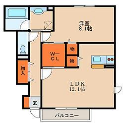 滋賀県長浜市分木町の賃貸アパートの間取り