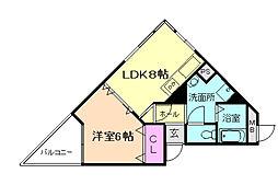 大阪府豊中市上野東2の賃貸マンションの間取り