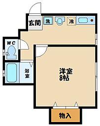 多摩都市モノレール 程久保駅 徒歩3分の賃貸アパート 1階1Kの間取り