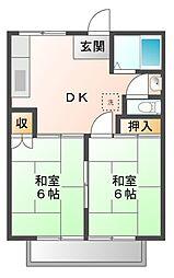 愛知県豊橋市東小鷹野3丁目の賃貸アパートの間取り