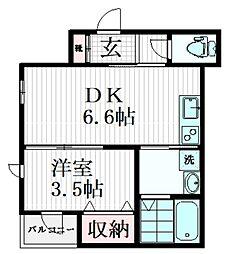 東急目黒線 武蔵小山駅 徒歩5分の賃貸マンション 2階1DKの間取り