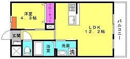 兵庫県高砂市百合丘の賃貸アパートの間取り