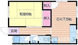 大阪府箕面市桜2丁目の賃貸アパートの間取り