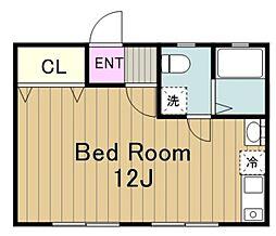ドーム多摩 M棟 2階ワンルームの間取り