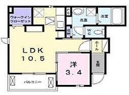 東武野田線 七里駅 徒歩10分の賃貸アパート 1階1LDKの間取り