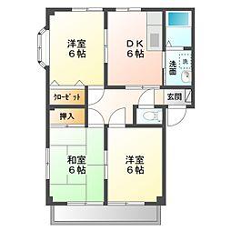 愛知県新城市市場台1の賃貸アパートの間取り