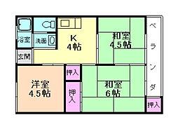 大阪府箕面市半町3丁目の賃貸マンションの間取り