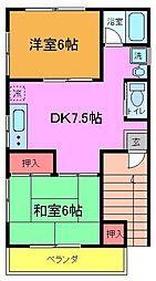 久保田ハイツ[201号室]の間取り