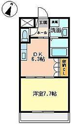南海高野線 中百舌鳥駅 徒歩12分の賃貸マンション 1階1DKの間取り