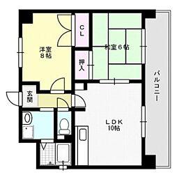 福岡県福岡市西区内浜2丁目の賃貸マンションの間取り