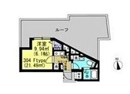 小田急小田原線 世田谷代田駅 徒歩16分の賃貸マンション 3階1Kの間取り