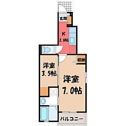 茨城県結城市新福寺2丁目の賃貸アパートの間取り