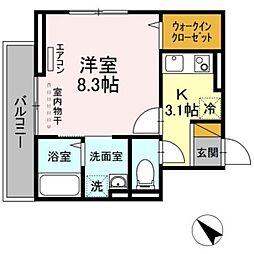 JR総武線 幕張本郷駅 徒歩10分の賃貸アパート 2階1Kの間取り