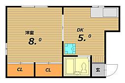兵庫県神戸市長田区西代通2丁目の賃貸アパートの間取り