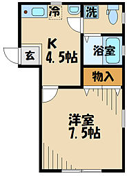 DOME-TAMA MM 2階1Kの間取り